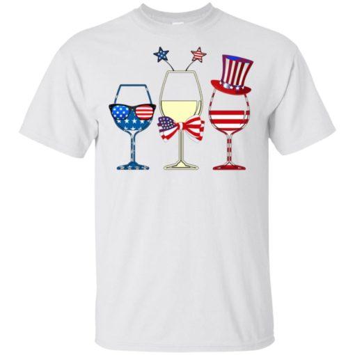 4th July three glasses of wine American flag