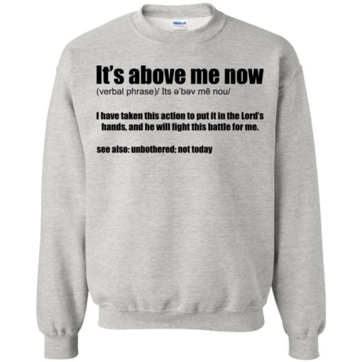 It's above me now I have taken this action to put it in the lord's hands shirt