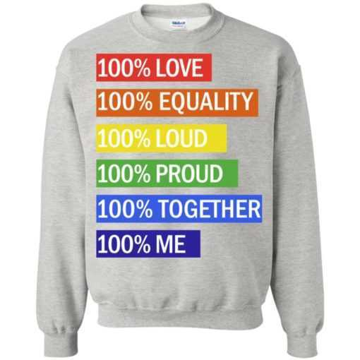 100% Love 100% equality 100% loud 100% proud