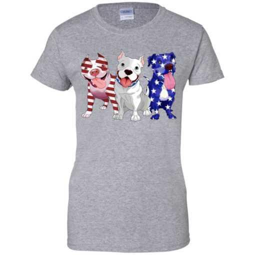 4th July Three Pitbull American flag