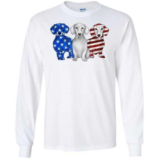 4th July Three dachshund American flag